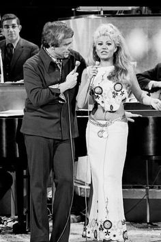 """""""Merv Griffin Show, The"""" Merv Griffin with Charo, c. 1969...she made me laugh with her crazy accent"""