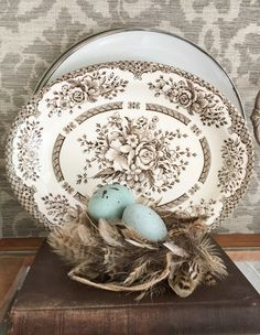 Brown transferware should be around to group with my First Love white/brown/grey/silver for the Greige living room.