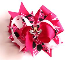 Boutique Minnie Mouse Hair Bow Clip w Planar Resin Center by prettybowtique on Etsy