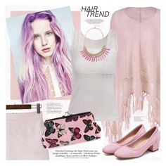 """""""Matchy-Matchy Hair"""" by katjuncica ❤ liked on Polyvore featuring hairtrend, Pink, lace, butterfly and rainbowhair"""