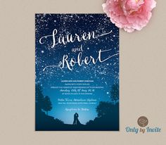 Starry Night Wedding Invitation and RSVP Set Printed | Romantic Love and Stars Rustic Wedding Invitation | Woodsy Forest Mountain Wedding