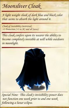 Moonsilver Cloak DnD Dungeons & Dragons fantasy role play magic items treasure l. Dungeons And Dragons Homebrew, Dungeons And Dragons Characters, D&d Dungeons And Dragons, Dnd Characters, Dnd Dragons, Fantasy Armor, Fantasy Weapons, Dungeon Master's Guide, Dnd 5e Homebrew