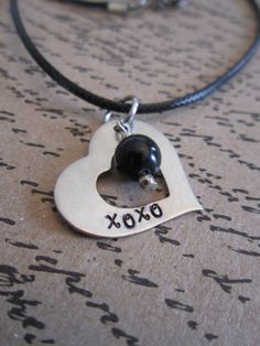 XOXO Hand Stamped Heart Pendant Necklace by girlinair on Etsy, $10.00