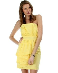 Women Dressy Dresses Strapless Layered Ruffle Dress