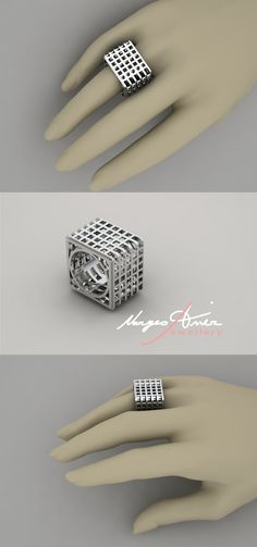 unisex sterling silver square ring