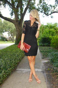 Jennifer Rand of Belle de Couture in a Karen Kane dress, Zara heels, and vintage clutch