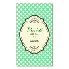 Cute Mint Green Polka Dots Elegant Vintage Frame Business Card Templates