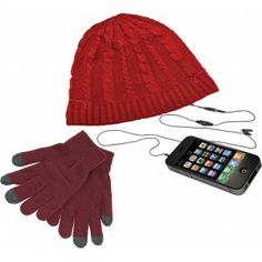 Beanie Hat Headphones with Touch Screen Gloves Set in Red, Perfect Christmas gift idea.