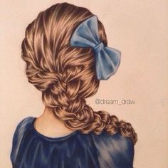 Lovely hair drawing with bow Amazing Drawings, Realistic Drawings, Beautiful Drawings, Cool Drawings, Drawing Sketches, Amazing Art, Hair Painting, Painting & Drawing, Drawing Hair