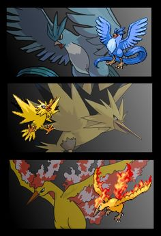#144 Articuno, #145 Zapdos and #146 Moltres  https://www.facebook.com/pages/The-Nerd-Rave/113442648801172