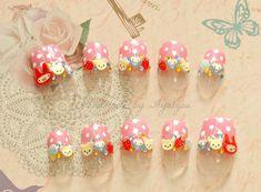 Pretty nails, animal, 3D nails, kawaii nail art, bear, pink, polkadot, Japanese press on nails
