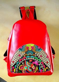 On SALE  Hmong Boho Leather Embroidery Bag Ethnic by pasaboho
