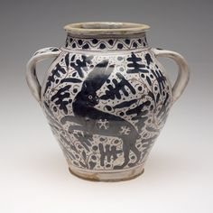 Double-Handed Drug Jar (Orciuolo) with Oak Leaves and Leaping Hare – Objects - RISD MUSEUM