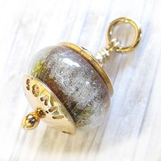 Solid 14k gold glass cremation ash bead pendant. by LockedInArt