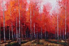 Red Forest 24x36 Original LARGE Oil Painting Impressionism Fall Autumn Aspens Birch trees by Carl Bork
