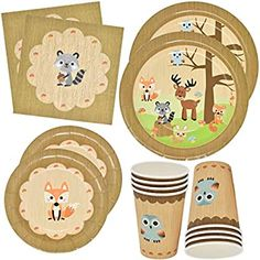 Gift Boutique Woodland Animal Creatures Tableware Set 24 Plates 24 Plates 24 9 Oz Cups and 50 Luncheon Napkins for Baby Shower Birthday Forest Friends Theme Party Supplies Decorations Woodland Animals Theme, Woodland Baby, Woodland Creatures, Baby Shower Plates, Baby Shower Decorations Neutral, Its A Boy Banner, Baby Shower Party Supplies, Thing 1, Boutique