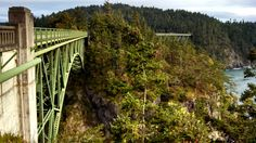 Pacific Northwest Trail at the dramatic bridge crossing over Deception Pass