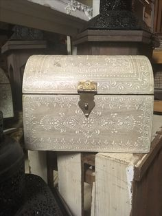 Mini Treasure Chest!  Beautiful for wedding decor, shabby chic touches for a tea party or any other occasion this type of decor would be pleasing for...!  It can be used in a presentation or a performance!!