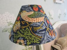 Handmade Coolie Lampshade William Morris Strawberry Thief indigo Fabric 25cm