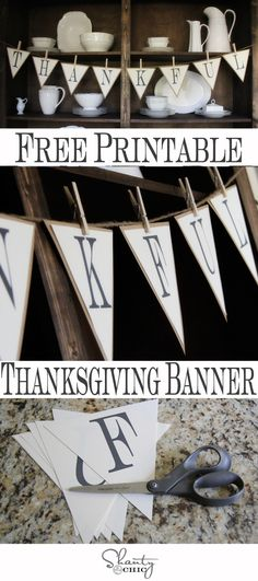 FREE Printable Thanksgiving Banner from Shanty-2-Chic.com // #free Fall Decor!