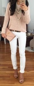 Beige sweater, shoes & clutch, white skinny jeans, leopard skinny belt, layered pearl necklaces