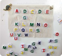 alphabet match up - very adaptable to materials on hand from paper to magnetic board