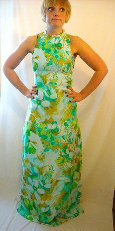 Maxi Dress Bridesmaid Vintage 1960s Ruffle Party Dress Floral Print Summer Fashion Halter. $40.00, via Etsy.