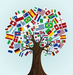Another take on the world tree - Flags of the World tree  countries participants of Soccer Cup 2010  Vector file available  Stock Photo