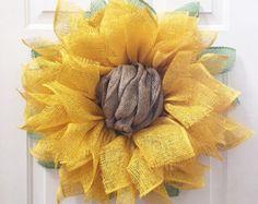 Sunflower Wreath, Sunflower Burlap Wreath, Burlap Sunflower Wreath, Fall Decor, Sunflower Decor, Fall Wreath, Front Door Wreaths, Handmade