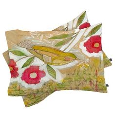 East Urban Home Cori Dantini Sweet Meadow Bird Pillowcase Size: Standard