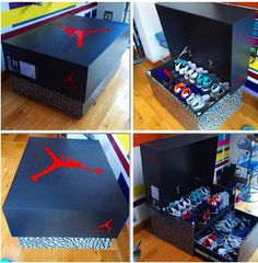 This is the best way to store your sneakers with these Nike and Jordan Brand storage wooden boxes. Find out how to own this Jordan Brand storage box today Sneakers Storage, Shoe Storage, Storage Boxes, Jordan Shoe Box Storage, Storage Units, Giant Shoe Box Storage, Jordans Retro, Air Jordans, Blue Jordans