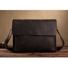 ROCKCOW Leather Full Flap Messenger Handmade Bag Laptop Bag Satchel Bag Padded Messenger Bag School Bag 8009