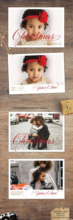 Chic, eye-catching Christmas card with calligraphy word art and gold foil stars. #xmas #photography #card