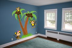 6 FT Palm Trees with Monkeys Wall Decal Sticker Mural #MuralArtDecals