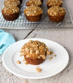Oatmeal banana muffin with oatmeal topping.