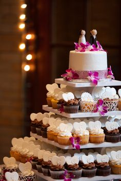 Wedding Cupcake Tower each table gets a variety.