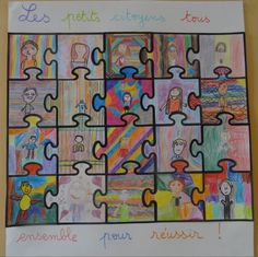 First Grade Classroom, Art Classroom, Puzzle Bulletin Boards, Painting For Kids, Art For Kids, Puzzles, Young Art, Puzzle Art, Collaborative Art