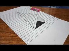 How to Draw Steps in a Hole - Line Paper Trick Art Drawings On Lined Paper, Amazing Drawings, Pencil Art Drawings, Cool Art Drawings, Art Drawings Sketches, Easy Drawings, Easy 3d Drawing, 3d Art Drawing, Illusion Drawings