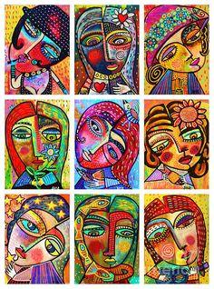 Folk Art Ladies - colorful face portraits