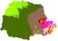 Mapa dos Recursos minerais do Paraná. Mesozóico: cobertura sedimentar mesozóica (cor verde claro), sedimentação e magmatismo básico e alcalino (cor verde escuro). Paleozóico: cobertura sedimentar paleozóica (cor cinza). Sedimentos incosolidados do Cenozóico (cor amarela). Terreno cristalino de alto grau metamórfico do Arqueano - Proterozóico inferior (cor rosa claro). Mineropar - Serviço Geológico do Paraná.