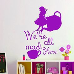Alice in Wonderland Decor Wall Decals Quote Stickers Decal Vinyl For Nursery Bedroom Home Decor Interior Design Art Murals MN903 ** Visit the image link more details. (This is an affiliate link) #KidsFurnitureDcorStorage