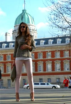 cropped sweater, and nude pants