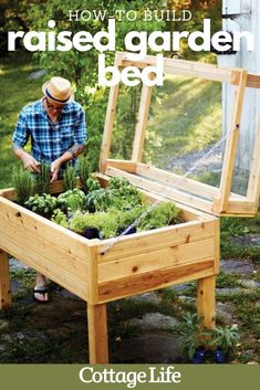 Get the plans to build this DIY raised garden bed for your backyard this summer. #ProjectPlans #woodworking #build #DIY #backyard #garden #plant #vegetables #howtogarden #planter #CottageLife Herb Garden Planter, Diy Planter Box, Veg Garden, Garden Boxes, Lawn And Garden, Greenhouse Gardening, Garden Path, Backyard Planters, Patio