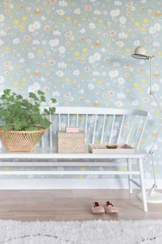 Majvillan's new Bloom Wallpaper in Grey. A delightful floral Wallpaper to brighten up a girls room. Non-Woven Wallpaper (paste the wall) Washable & Eco-Friendly Roll Size: x Repeat: Straight Match Swedish Wallpaper, Country Cottage, House Design, Wallpaper, Mural, Wall, Floral Wallpaper, Little Girl Rooms, Wall Coverings