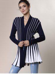 Stylish Women's Long Sleeve Color Block Cardigan - BLACK ONE SIZE