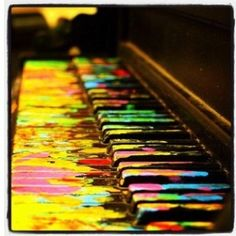 {Rp with Peter} I was playing at my piano and you were painting. Then suddenly -BOOM!- the piano was splattered with paint and so was I. I look blankly at the piano, then back at you Piano Art, Piano Music, Violin Art, Music Wall, Painted Pianos, Sunday Love, Piano Keys, Paint Splatter, Color Of Life