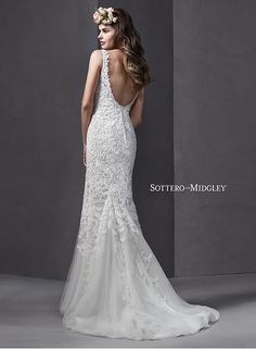 Romantic lace slim A-line wedding dress, complete with plunging V-neckline and straps, Brooklynn by Sottero and Midgley.