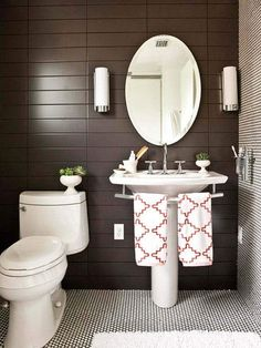 Half Bathroom Ideas - Want a half bathroom that will impress your guests when entertaining? Update your bathroom decor in no time with these affordable, cute half bathroom ideas. Small Bathroom Sinks, Bathroom Renos, Bathroom Wall Decor, Modern Bathroom, Bathroom Ideas, Comfort Room Tiles Small Bathrooms, Bathrooms With Pedestal Sinks, Taupe Bathroom, Remodled Bathrooms