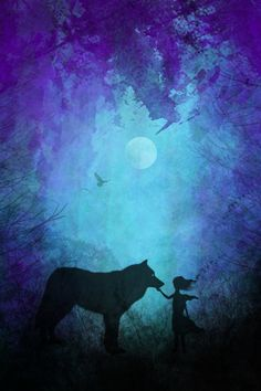 #Awesome art.  wolf art, wolf whisperer, nature art, moon art, space art, birds, trees, forest, adventure, silhouette art, purple art, pink, teal, blue, the mind blossom, frank donato, galaxy painting