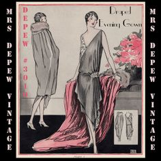 Vintage Sewing Pattern Instructions 1920's Flapper Easy Draped Evening Gown Ebook PDF Depew 3010 -INSTANT DOWNLOAD-